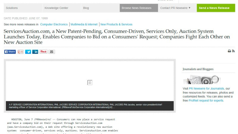 ServicesAuction.com, a New Patent-Pending, Consumer-Driven, Services Only, Auction System Launches Today, Enables Companies to Bid on a Consumers' Request; Companies Fight Each Other on New Auction Site
